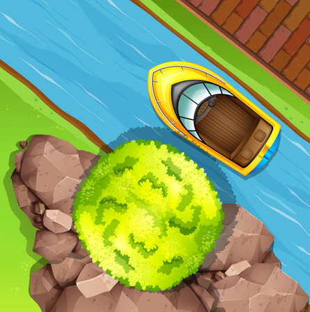 rowboat: Top view of speed boat on the water