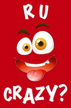 brows: Poster of crazy looking face on red background