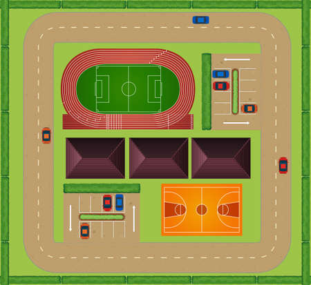 sports track: Aerial view of sporting facility illustration Illustration