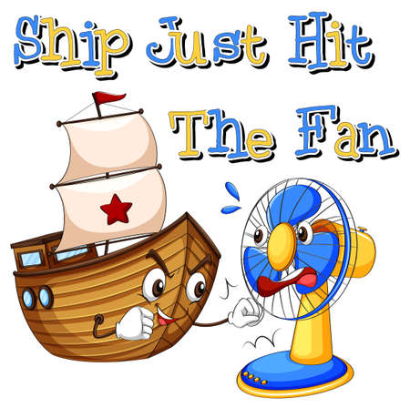 cartoon words: English saying ship just hit the fan Illustration