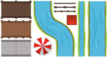 Bovenaanzicht van bruggen en rivieren Stock Illustratie