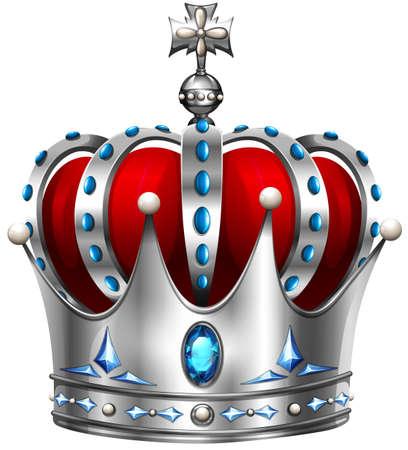 crown: Silver crown on white illustration