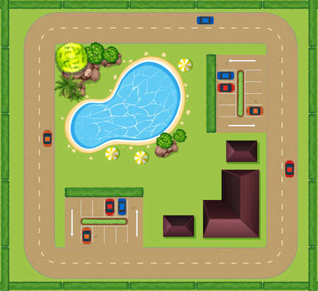 Luchtfoto van luxueus huis illustratie Vector Illustratie