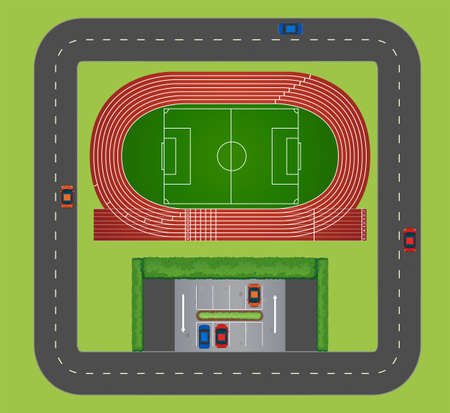 sports track: Areial view of sports track illustration Illustration