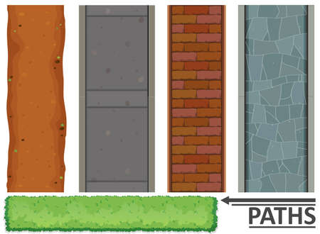 hedge: Variety of paths and textures illustration