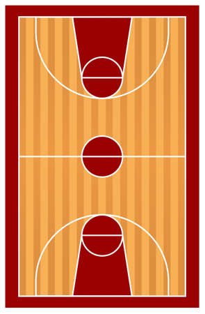 indoors: Top view of a basketball court on white background