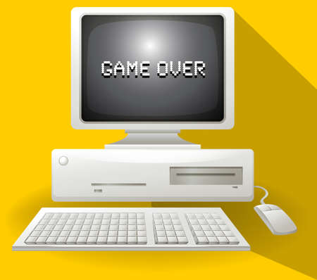 old pc: Game over computer concept illustration Illustration