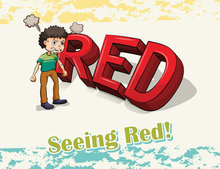 seeing: Flashcard of an idiom Seeing Red with a man standing with angry expression Illustration
