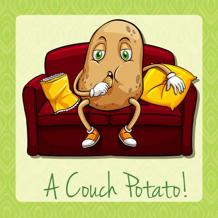couch potato: Couch potato idiom concept illustration Illustration