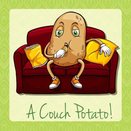 idioms: Couch potato idiom concept illustration Illustration