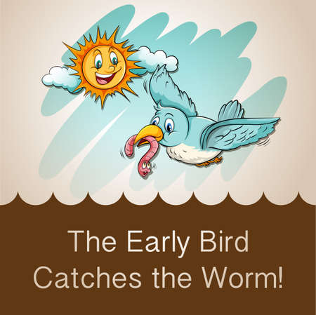 birds: Idiom saying the early bird catches the worm