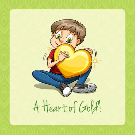 A heart of gold idiom illustration