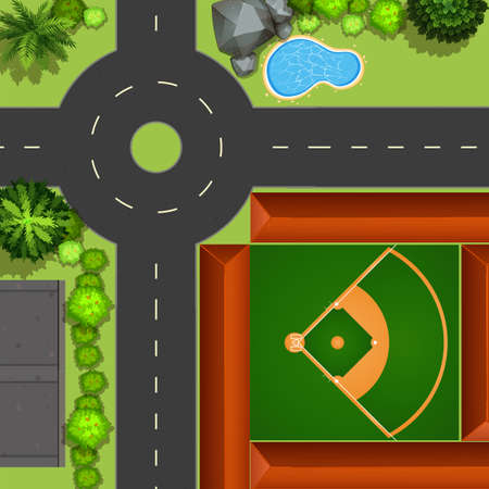 Topview of baseball field in the big park