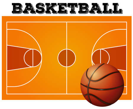 balon baloncesto: Balón en el fondo de la cancha de baloncesto
