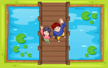 lily pad: Aerial view of people on bridge illustration Illustration