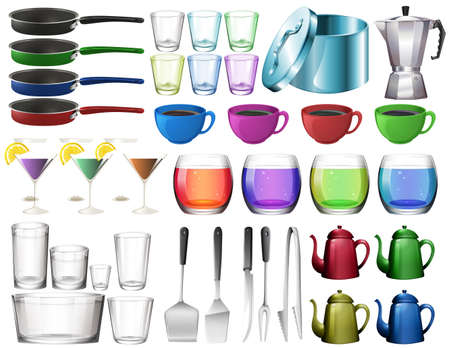 clip art wine: Kitchenware set with glasses illustration Illustration