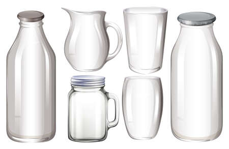 glass containers: Set of glass containers with no label Illustration