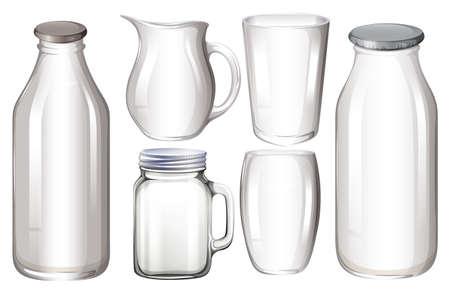 Set van glazen verpakkingen zonder etiket