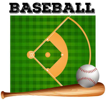 baseball field: Baseball bat and ball on baseball field Illustration