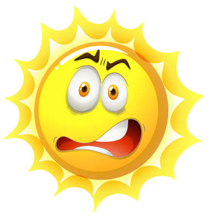 Bright sun with shocking face Illustration