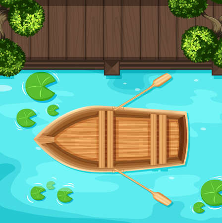 of view: Top view of pond with rowboat floating on water