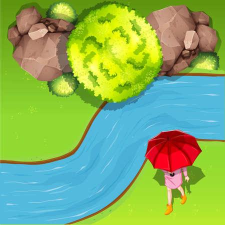 bovenaanzicht plant: Wandelen naast de rivier vanuit de lucht illustratie Stock Illustratie