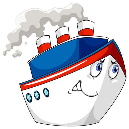 cruise ship: Cruise ship with facial expression Illustration