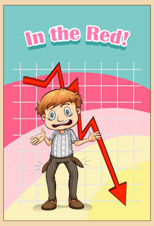 grownup: English idiom saying in the red Illustration