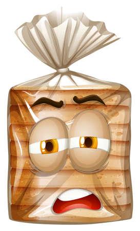 bolsa de pan: Rostro soñoliento en bolsa de pan