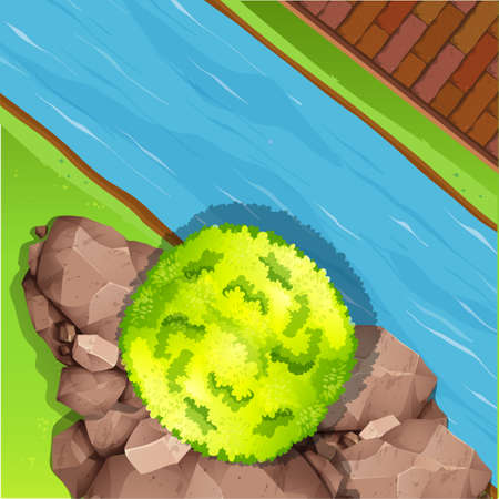 water flowing: Aerial view of river illustration Illustration