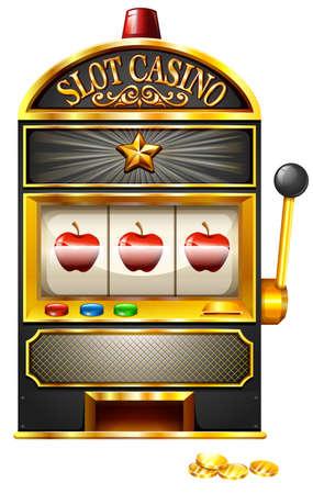 slot machines: Máquina tragaperras con manzanas ilustración Vectores