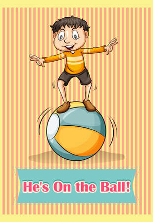 man working out: English idiom he is on the ball Illustration