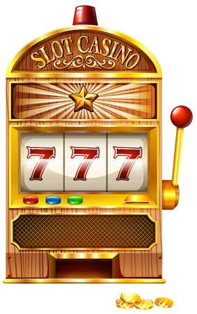 Machine à sous avec sept chanceux illustration Banque d'images - 42988129
