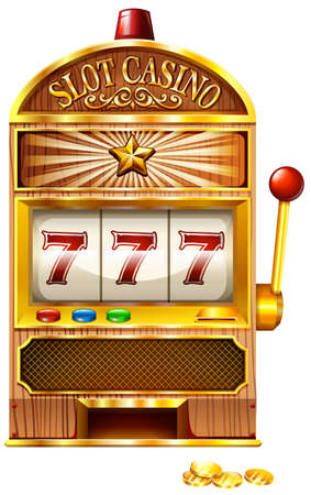 Slot machine with lucky seven illustration