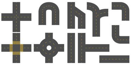 Conjunto de diferentes patrones de las carreteras en el fondo blanco Foto de archivo - 42988128