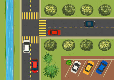 carpark: Top view of street full of cars