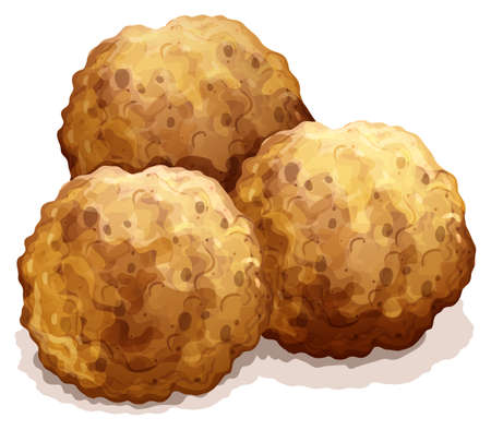 cartoon ball: Three round meatball made of beef