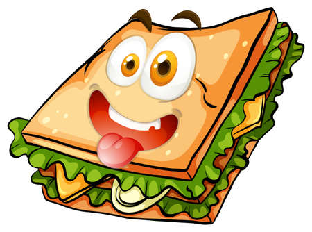 close: Happy face on vegetable sandwich