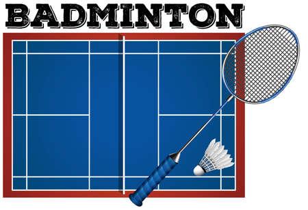 badminton: Badminton court and equipment illustration