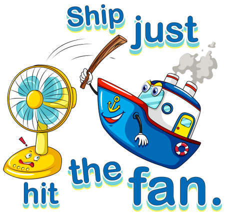 wordings: Poster of Ship just in the fan on white background