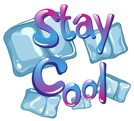 wording: Wording says stay cool with ice cubes background