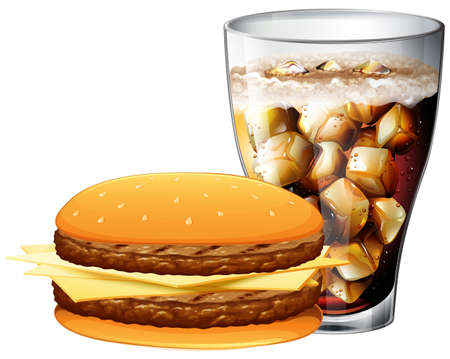 chilled: Meat burger with chilled cola on white background Illustration
