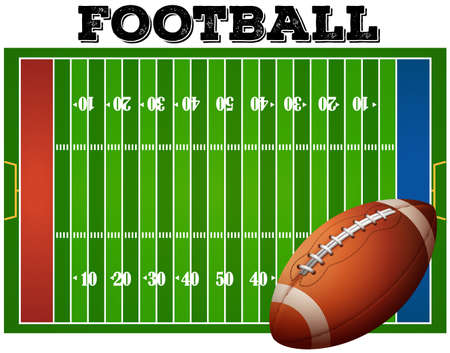 field: Football on football field with texting