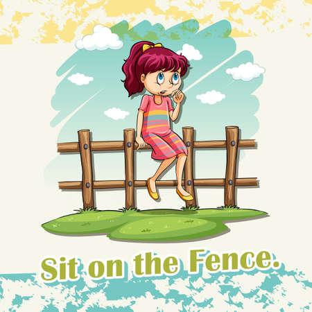 indeciso: Si�ntese en el idioma ilustraci�n valla Vectores
