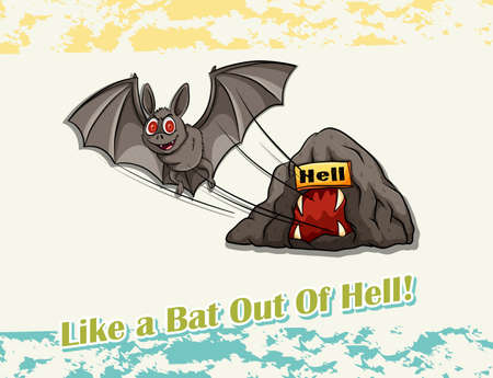 idiom: Like a bat out of hell idiom illustration