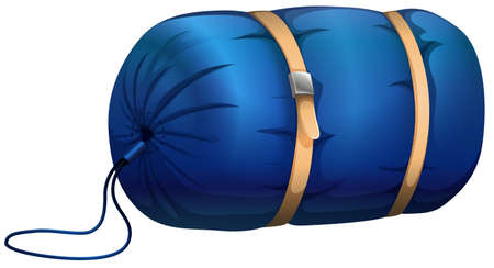bag cartoon: Blue sleeping bag with leather strapped Illustration