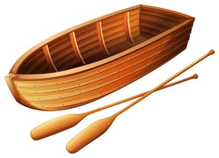 hilera: Barco de madera en la ilustración blanca Vectores