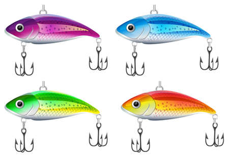 trout fishing: Set of fishing lures illustration