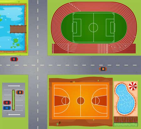 terrain de foot: Vue de dessus de différents tribunaux dans la même zone
