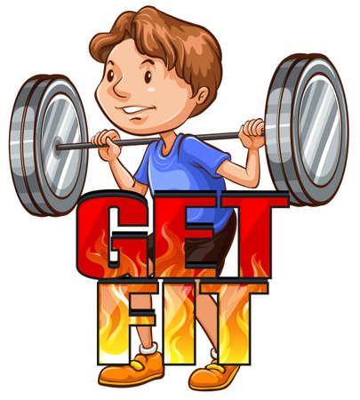fit: Obt�n logo ajuste con atleta ilustraci�n